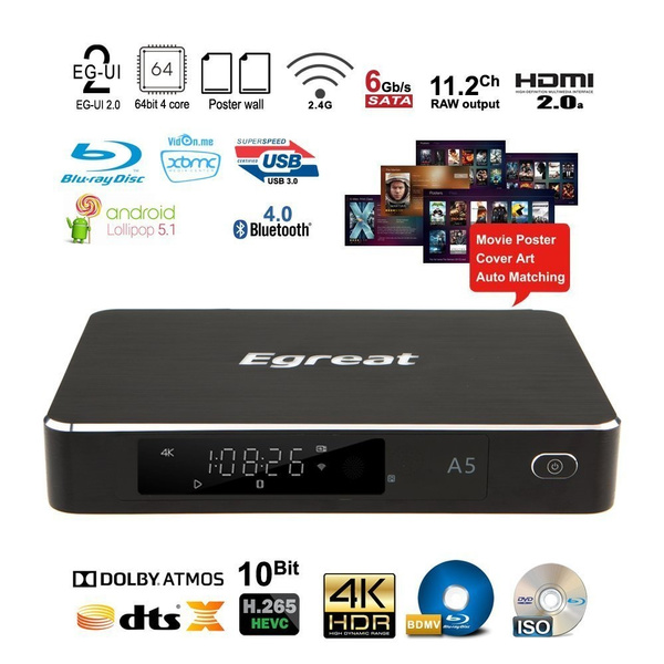 Egreat A5 4K HDR Ultra HD Streaming Blray HDD Media Player Android TV Box  With WiFi