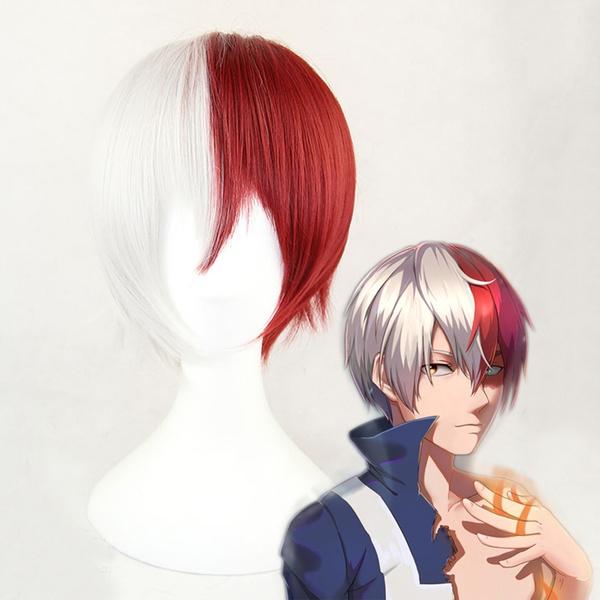 Boys Or Girls Stylish Half White Half Wine Red Short Curly Hair Wigs My Hero Academia Cosplay Anime Wig Wish