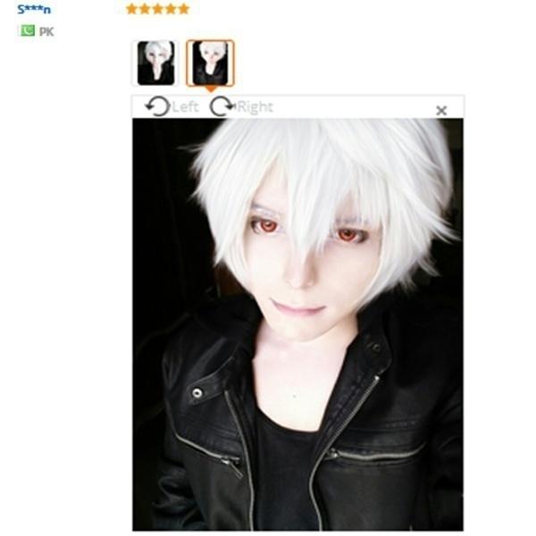 Home Fashine Anime Cosplay Wig Short Male Anime Hair Silver White Hair