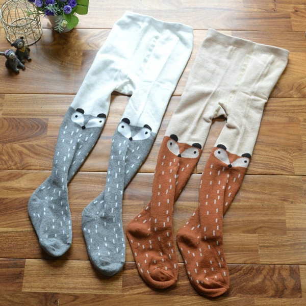 Baby Kids Girls Cute Cotton Fox Tights Socks Stockings Pants Hosiery Pantyhose