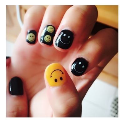 Wish Water Transfer Nails Art Sticker Emotion Emoji Yellow Smile