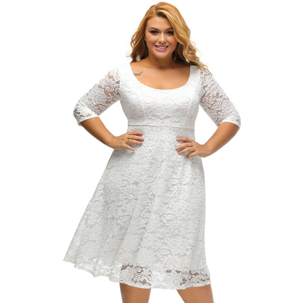New Elegant White Floral Lace Large Size Lace Dresses Sleeved Fit And Flare Curvy Dress Vestidos