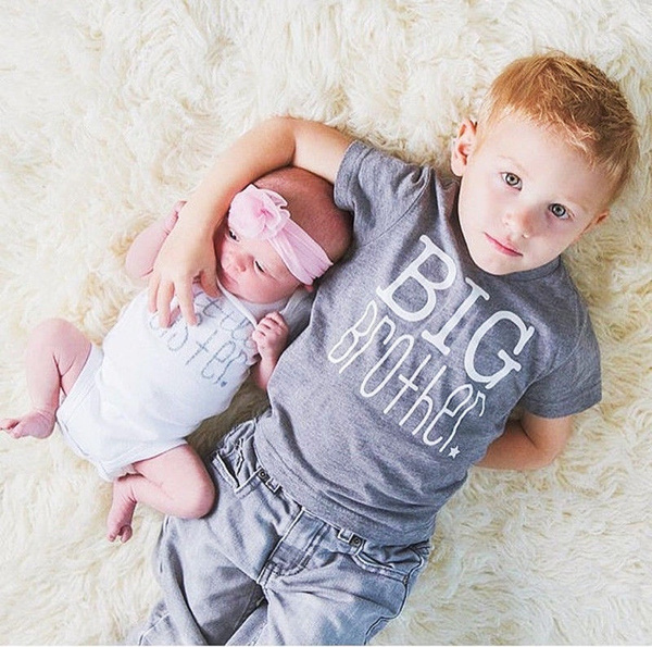 New  Kids Baby Boys Girls Toddler Big Brother Tops T-shirt Little Sister Romper