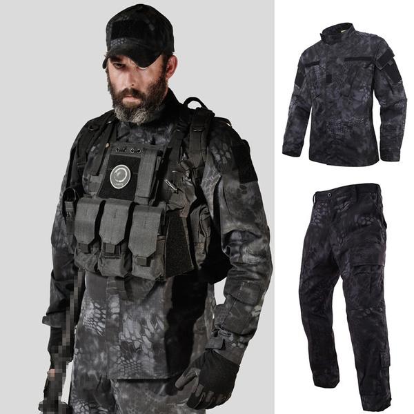 Mens Combat Shirt Pants Set Airsoft Military Tactical BDU Uniform MultiCam Camo