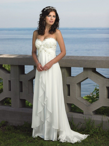 Wish | White and ivory A-Line Chiffon Beach Wedding Dress Appliques ...