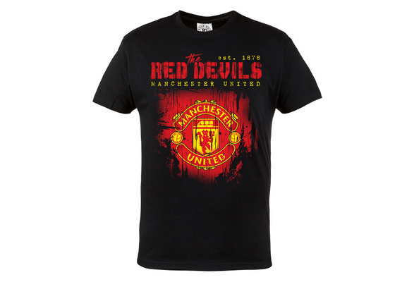 6a401bebb T-SHIRT THE RED DEVILS MANCHESTER UNITED 100% COTTON BLACK Tee Shirts