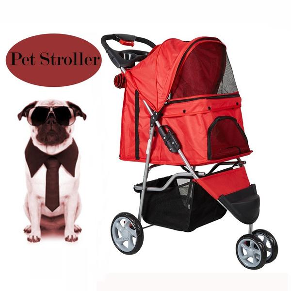 Outdoor Pet Carrier Cart Folding Dog Cat Travel Trolley Cart