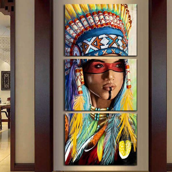 Modern Unframed 3 Panel Native American Indian Feathered Canvas Painting For Living Room Wall Art Prints Home Decor