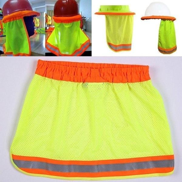 6637062b59dd2 Yellow Safety Hard Hat Neck Shield Helmets Sun Shade HI VIS ...