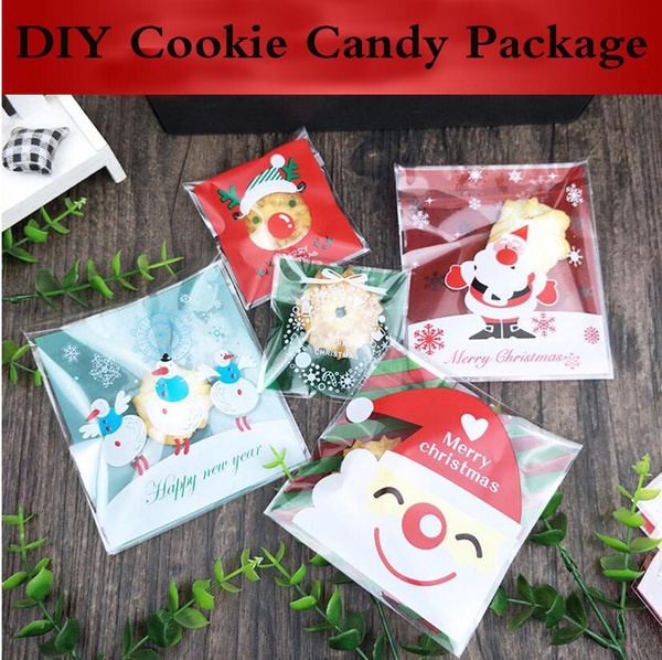 100pcs Merry Christmas Self Adhesive Diy Cookie Candy Package Gift Bags Cellophane