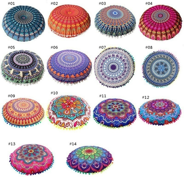 Excellent 43 43 Cm Round Indian Mandala Floor Cushion Case Cover Bohemian Sofa Pillows Case Pillow Slips Pdpeps Interior Chair Design Pdpepsorg