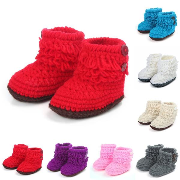 Handmade Newborn Baby Infant Boys Girls Crochet Knit Booties Crib Casual Shoes