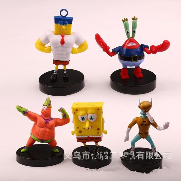 1pcs/lot Spongebob Action Figures Doll Patrick Star Squidward Tentacles  Crab Boss Fish Tank Cake Decoration Kids Gift Toys