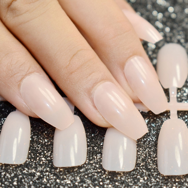 Wish | Candy Coffin Fake Nails Clear Nude Flat Top Acrylic Designed ...