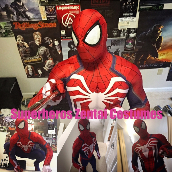 New Ps4 Insomniac Spiderman Suit 3d Print Spandex Games Spidey Cosplay Suit Halloween Cosplay Spider Man Costumes