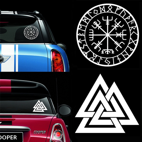 Valknut Vinyl Car Decal Pagan Odin Asatru Norse Viking Sticker Car Window Accessories