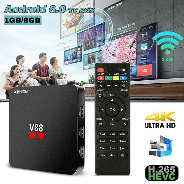 V88 Quad Core Android 6 0 Smart TV Box WiFi RK3229 4K HD H 265 Media Player  EU/US Plug + Mini Wireless Keyboard i8