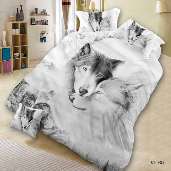 Incroyable Wish | Home Textile 3D Print Wolf Bedroom Furniture King Size 3/4PCS  Polyester Bedding Quilt Cover Bed Sheet 2*Pillowcase