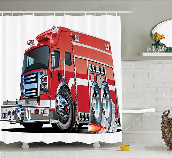 Cars Decor Shower Curtain Set By