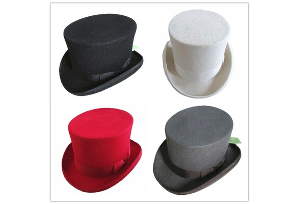 100% Wool Top Hat Steampunk Low Short Costume Hat Topper Wedding Four Colors