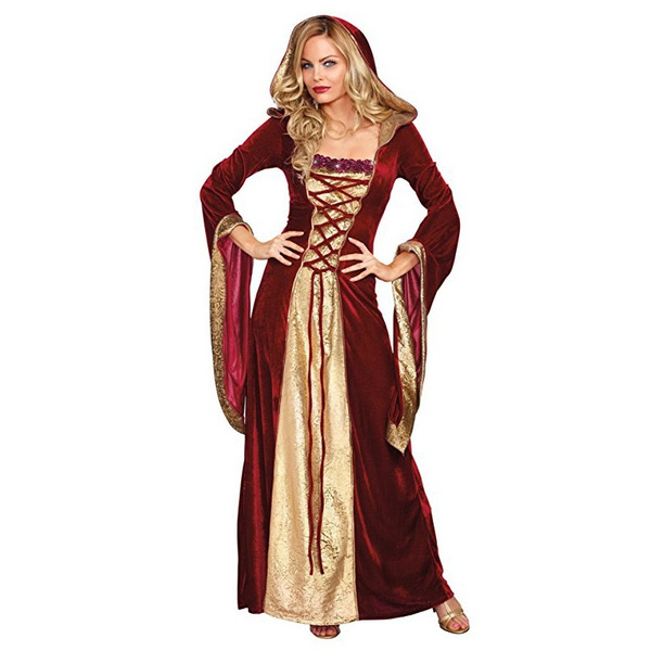 PLUS SIZE 2017 Halloween New Adult Medieval Dress Medieval Queen Costumes  For Women Full Sleeve Jacquard Gown Princess Costume Halloween Party Cosplay