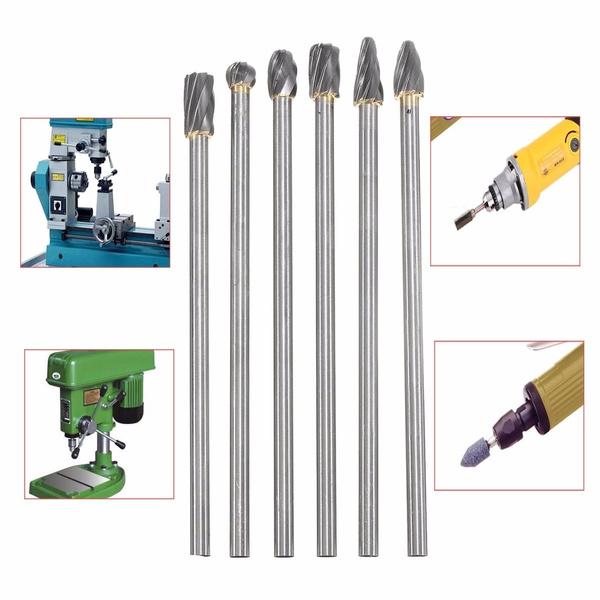 6Pcs 10mm Aluminum Cut Rotary Burr 150mm Long Reach Carbide Burs 1/4