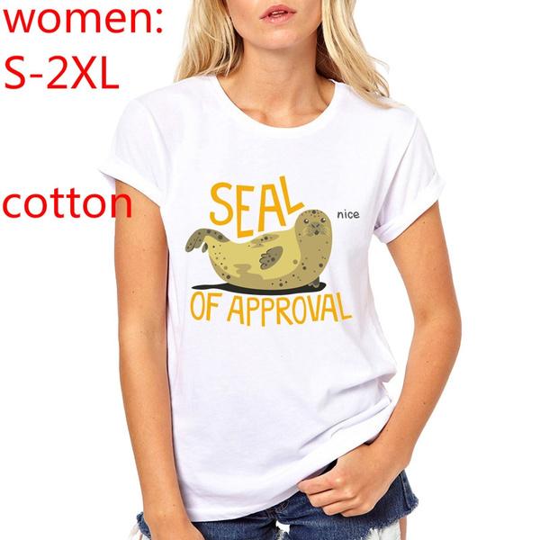 Novelty Women Summer Kawaii Animal Seal Design T shirt Fashion Animal Tops  Hot Sales Tee Shirts