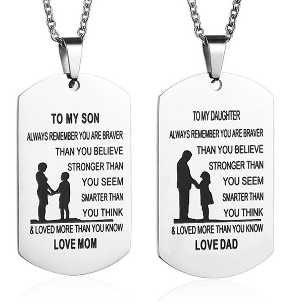 TO MY SON/Daughter Stainless Steel Pendant Necklaces Name ID Tag Necklaces  Birthday Gift Necklace for Kids Jewelry