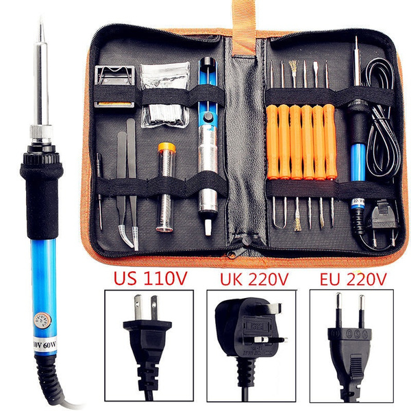 110V//220V 60W Adjustable Electric Temperature Welding Soldering Iron Tool Kit