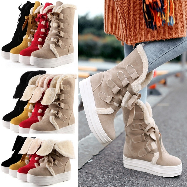 Womens Winter Warm Suede Ankle Snow Boots Fur Lined Casual Flats Lace up Shoes