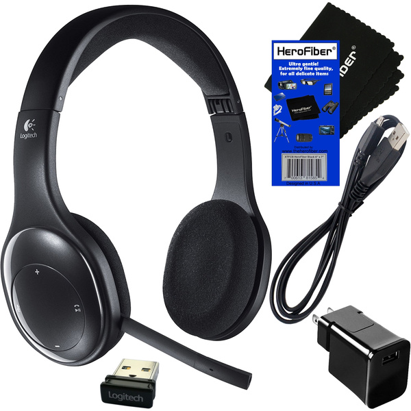 Logitech H800 Bluetooth Fold And Go Wireless Stereo Headset Receiver Usb Cable With Wall Adapter Charger Herofiber Ultra Gentle Cleaning Cloth Geek