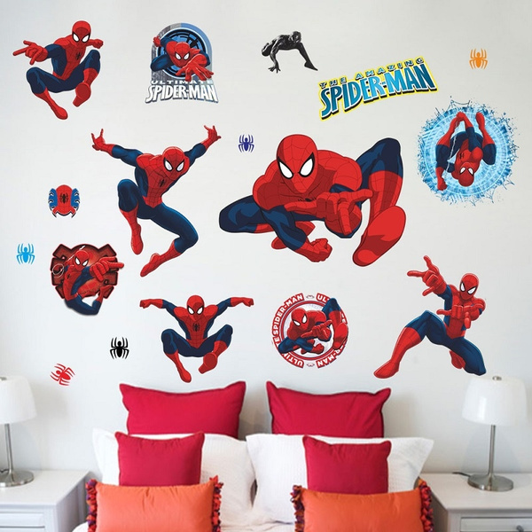 Spiderman Various Action Wallpaper Kids Room Bedroom Living Room Background Removable Wall Sticker