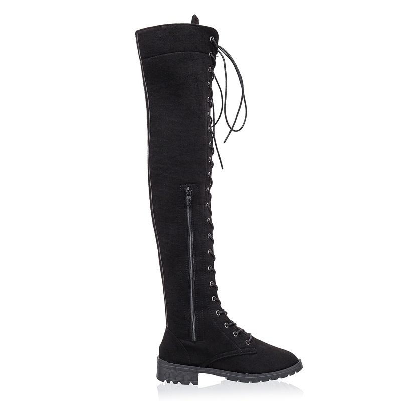 9fbd14dfa7ea53 Großhandel Frauen Fashion Low Heels Lange Stiefel Overknee Stiefel ...