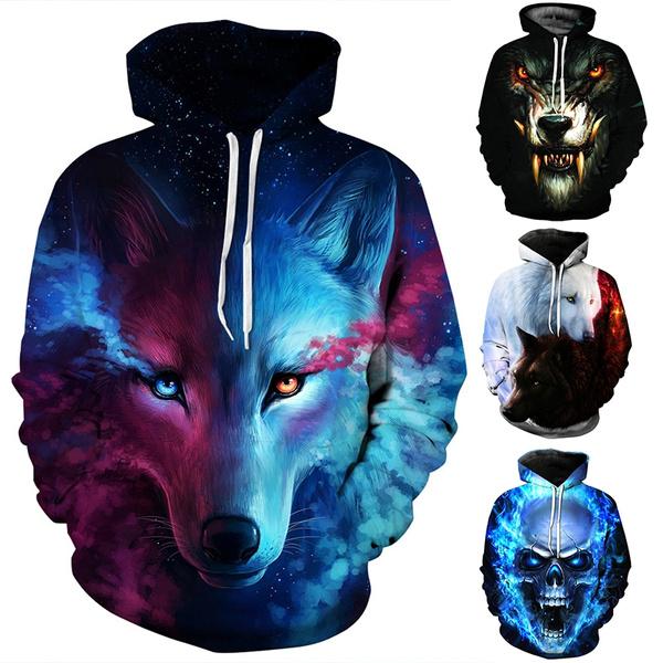 3D Wolf Print Hoodie Women Men Couple Lover Hooded Pullover Tops