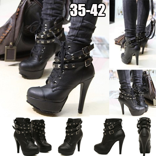 75db5836745a Women Fashion Anti-skid Platform Motorcycle Leather Ankle Martin ...