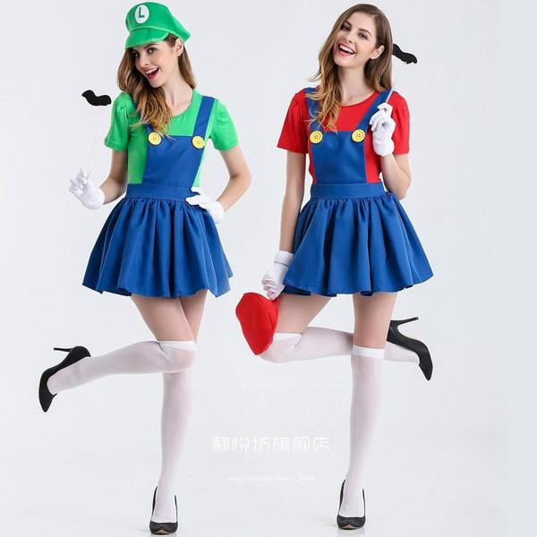 Mario and Luigi Costumes Adult Womens Super Plumber Bros Halloween Fancy Dress