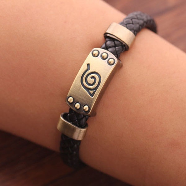 Anime Naruto Bracelet Leaf Mark Brown Wristband Cosplay Bangle For Anime Fan