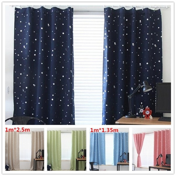 Brand New Star Kids Child Bedroom curtains with 5 colors Blackout Thermal  Solid Window Curtain For Living room Decor