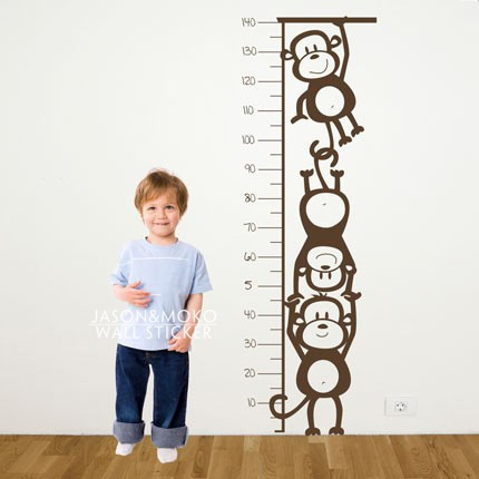 Monkey Height Chart Wall Stickers Vinyl Art Decals