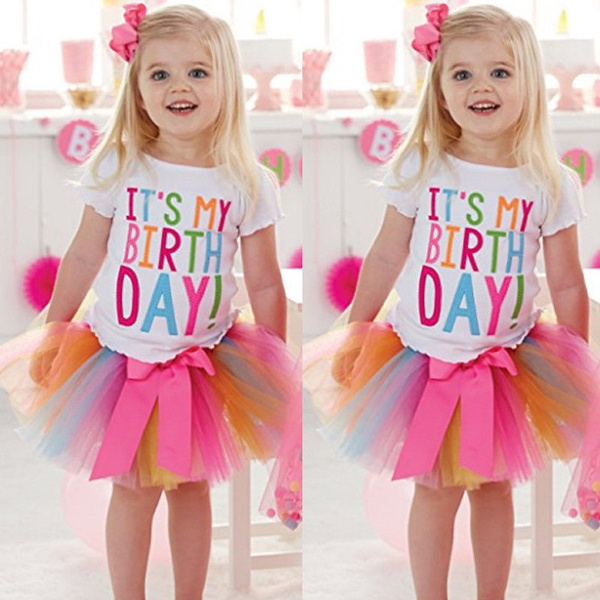 4368d4393 Baby Girl Kid Toddler ITS MY Birthday T-shirt+tutu Skirt Dress ...