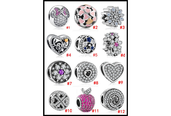 DIY 12 style Hole diameter 5mm High Quality 925 Silver plating LOVE Heart apple star Beach sunny ocean fish European Bead Pendant CZ Charm Clip Safety Stopper spacing Beads Fit Women Pan Bracelets Bangle Necklace