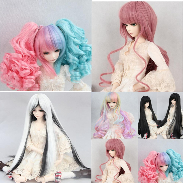 New 8-9 inch 22cm-24cm BJD Doll Hair Wig Pink Curly Hair 1//3 BJD SD Doll Wig