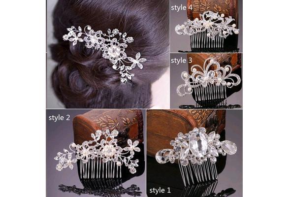 4 Styles Bridal Wedding Flower Crystal Rhinestones Diamante Pearls Hair Clip Comb