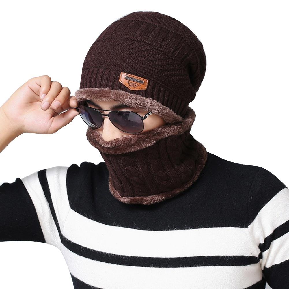 caef09e6436 Fashion Beanie Men Winter Warm Faux Fur Lined Baggy Hat Neckerchief ...