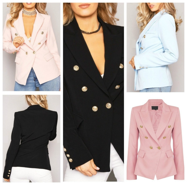 02cd6bb6de Women Double Breasted Gold Button Front Black Military Style Blazer Coat  Jacket Deep V Neck Sexy Suit
