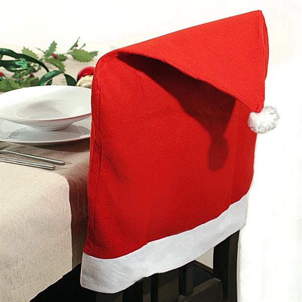 Weihnachtsdeko Stuhl.Stuhlhussen Weihnachten Stuhl Husse Hussen Mütze Rot Weihnachtsdeko Stuhlüberzug Chair Cover