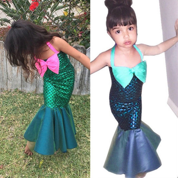 Kids Baby Little Mermaid Set Girl Princess Dress Party Cosplay Costume Outfits