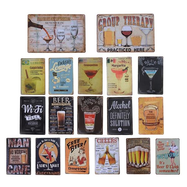 1 Psc Cocktail Beer Metal Poster Wall Decor Tin Sign Wall Hanging Bar Cafe  Home Decor