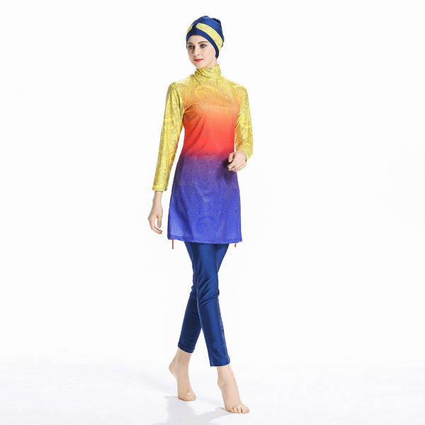0876abeb4d676 High elasticity Modest Muslim Swimwear Islamic Swimsuit For Women Hijab  Swimwear Full Coverage Swimwear Muslim Swimming Beachwear Swim Suit | Wish