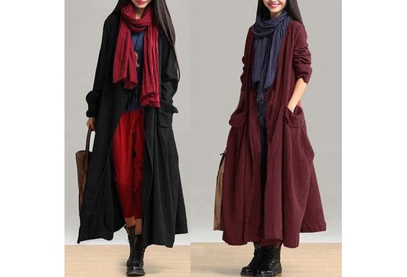 ZANZEA Cotton Linen Women Long Sleeve Pockets Lace-up Loose Casual Long Coat